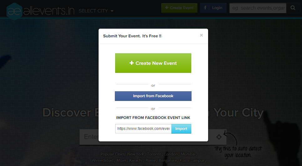 How to Import your Facebook Event Image1
