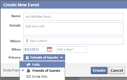 how to make private event public