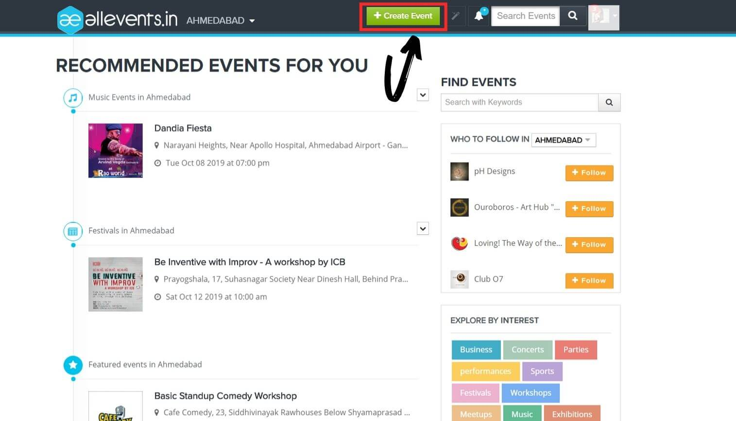 create and publish events on allevents