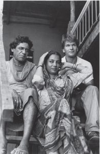 Om Puri, Shabana Azmi and Patrick Swayze on the sets of City of Joy